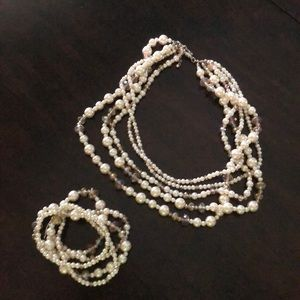 Pearl and iridescent bead bracelet and necklace